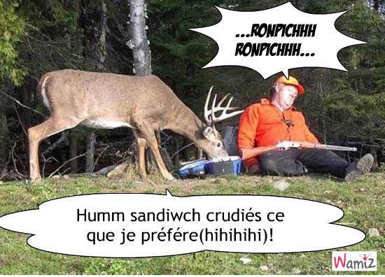 Le cerf qui n'a pas peur du chasseur, lolcats réalisé sur Wamiz
