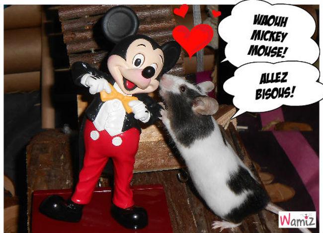 Mickey Mouse et une jolie souris..., lolcats réalisé sur Wamiz