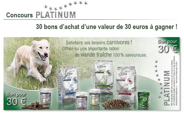 a gagner 30 bons d 39 achat platinum marque de nourriture naturelle pour chien wamiz. Black Bedroom Furniture Sets. Home Design Ideas