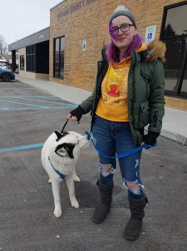 Kristin et son chien réunis