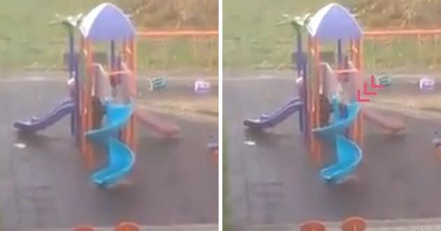Il filme le parc pour enfant depuis sa fenêtre et hallucine en voyant qui joue dans le toboggan