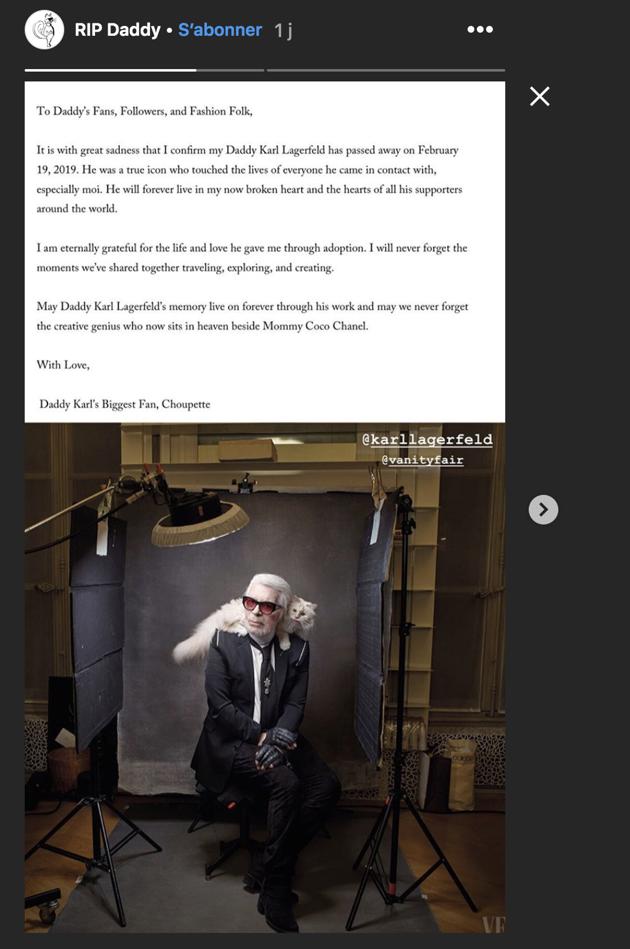 Choupette publie un message émouvant destiné à Karl Lagerfeld