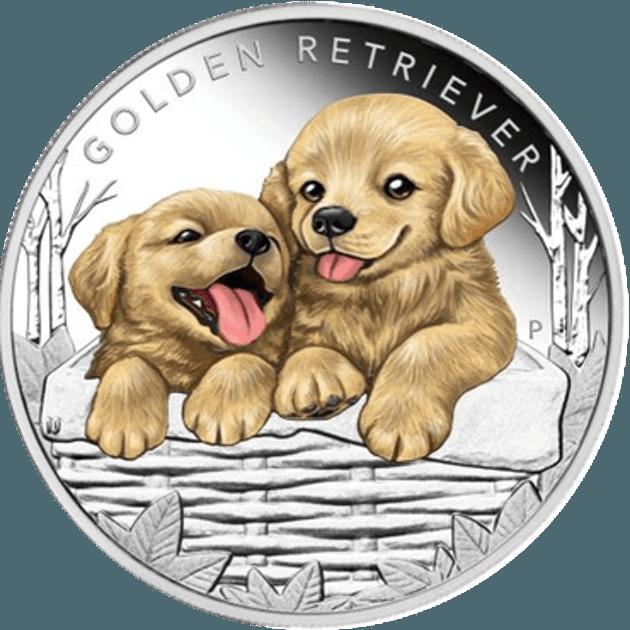 Pièce argent golden retriever