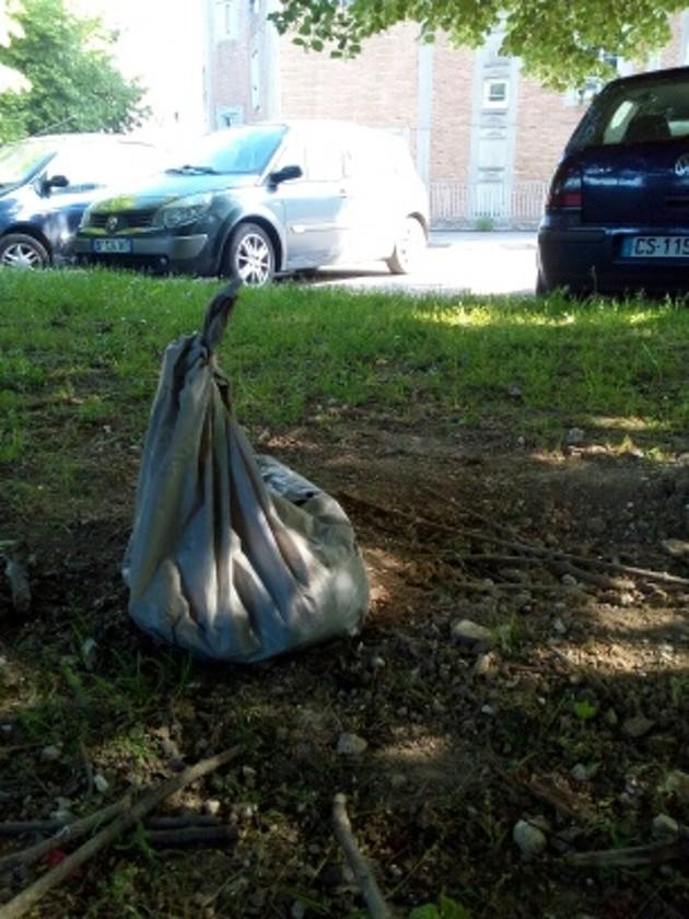 Photo du sac qui contenait le chien enterré