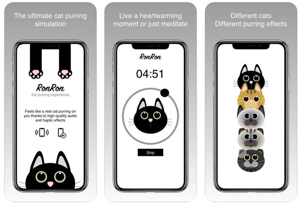 Cette application permet de se relaxer aux sons des ronronnements d'un chat
