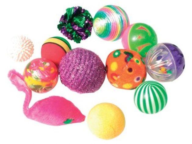 balles colorées chat