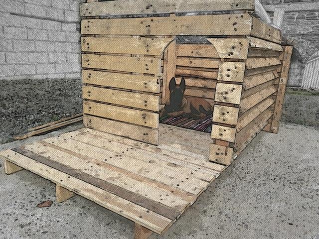 Construction d 39 une niche pour chien de taille moyenne - Niche pour chien en palette ...