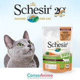 Testez les sachets fraîcheur Schesir Humide Sterilised BIO avec votre chat stérilisé