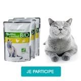 Testez les émincés à la volaille Équilibre & Instinct bio avec votre chat !
