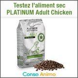Testez gratuitement l'aliment sec pour chien PLATINUM Adult Chicken !