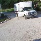 Un camion de livraison se gare, elle crie en voyant les images de sa caméra (Vidéo)