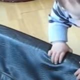 Le bébé tente de grimper dans le panier du chien : le toutou arrive et tout le monde retient son souffle !