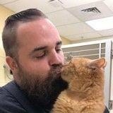 Ce vieux chat de 15 ans pleure tant qu'il n'est pas porté, alors il fallait trouver une solution (Photos)