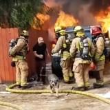 Il risque sa vie pour sauver son chien des flammes, la vidéo est impressionnante
