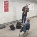 Ce chien est en duo avec son maître saxophoniste dans le métro, la vidéo de leur prestation fait le tour du monde