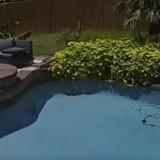 Il regarde la vidéo de surveillance et explose de rire en découvrant ce qu'il se passe près de la piscine !