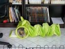 Lapine naine angora dans un tunnel à chat