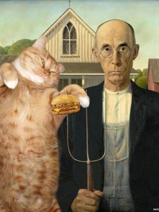 American Gothic avec chat