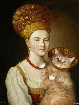 Portrait d'une jeune inconnue avec chat