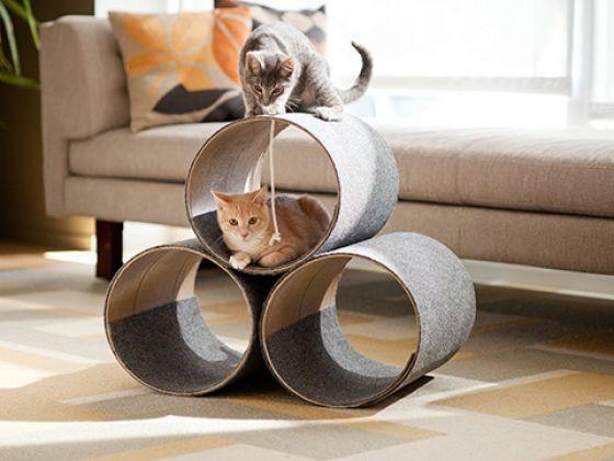 les chutes de moquettes font un tube du mobilier pour chat original photos page 2 wamiz. Black Bedroom Furniture Sets. Home Design Ideas