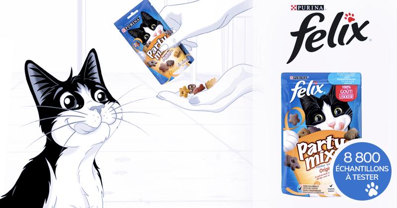 Recevez un échantillon des friandises FELIX® PARTY MIX™ pour chats !