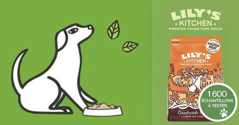 Inscrivez-vous et recevez gratuitement un échantillon des croquettes Lily's Kitchen pour chiens !