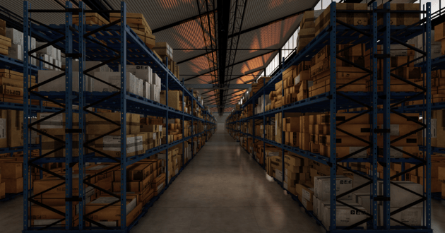 entrepôt avec des cartons