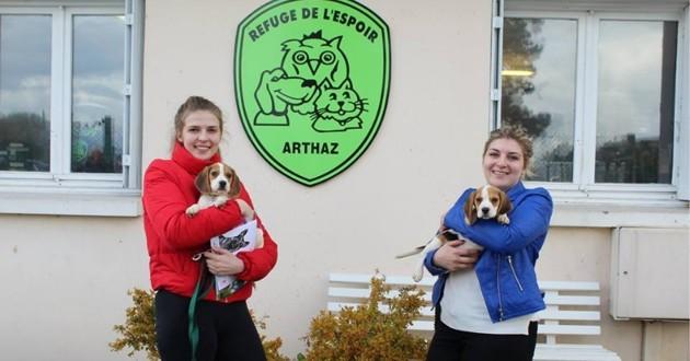 deux jeunes femmes portent des beagles dans leurs bras