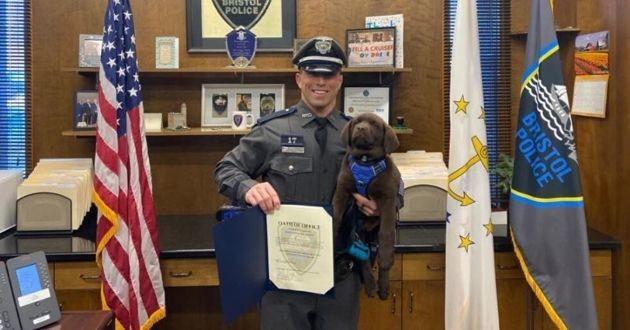 chien de police avec un policier