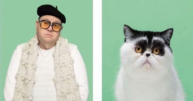 un chat et son propriétaire qui lui ressemble
