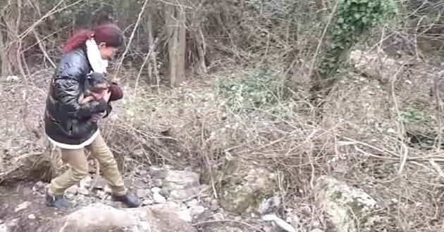 Chien piégé dans un terrier, sauvé