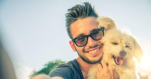selfie avec un chien