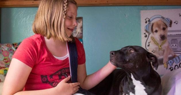 petite fille et son chien, tous les deux amputés