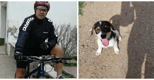cycliste chien chemin de terre