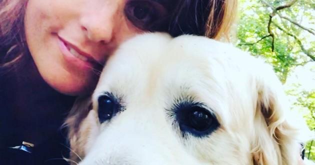Faustine Bollaert et son chien