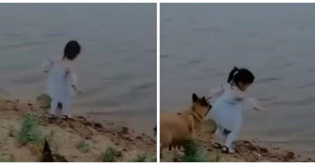 fillette chien lac