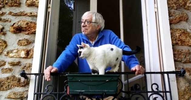 Jean-Louis Fournier et son chat Artdéco