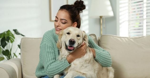 chien avec sa maîtresse sur le canapé