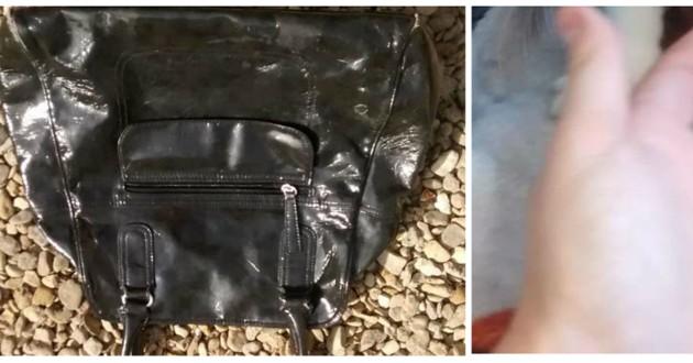 sac main abandonné noir