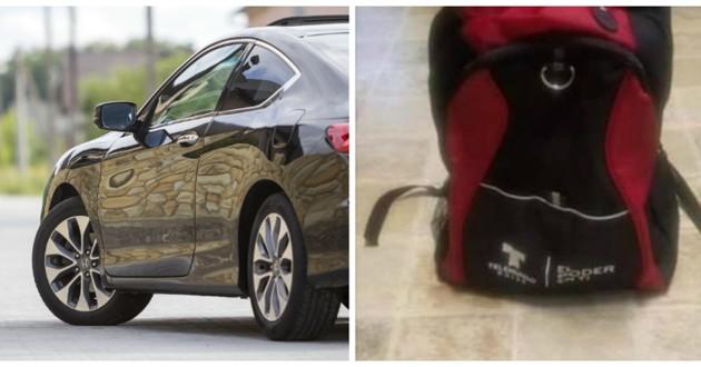 voiture et sac abandonné