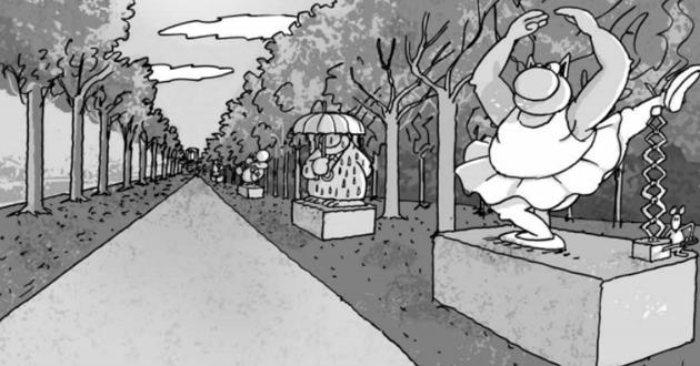 Dessin du Chat sur les Champs-Elysées