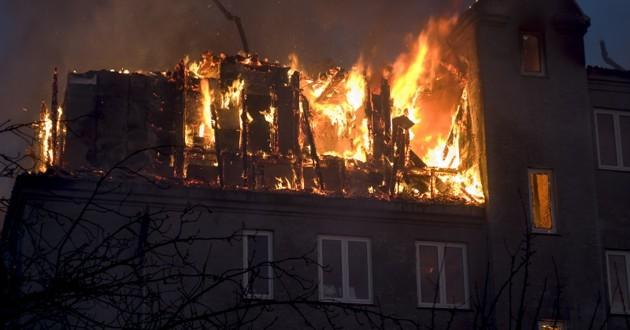Immeuble incendié