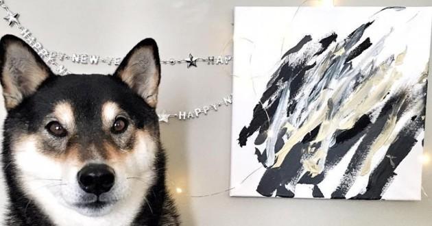 Ce Shiba est le roi de la peinture (vidéo)