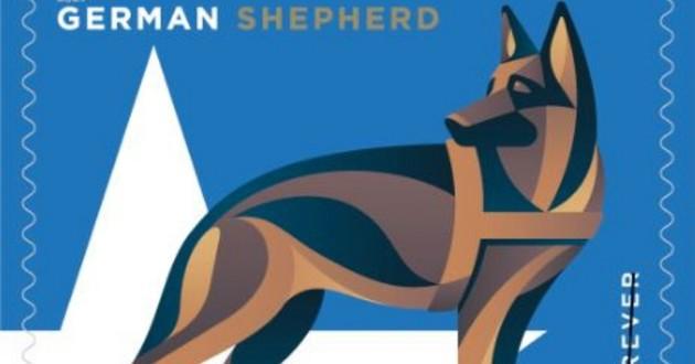 un timbre à l'effigie des chiens militaires
