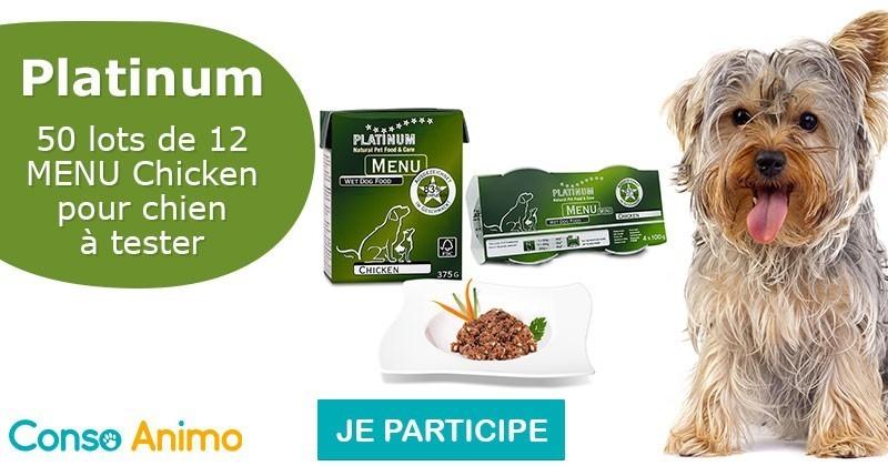 Testez l'alimentation pour chien Menu Chicken de Platinum !
