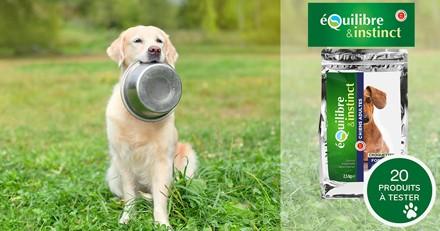 Testez gratuitement les croquettes allégées à la viande fraîche pour chien Equilibre & Instinct