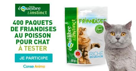Testez les friandises pour chat au poisson Equilibre & Instinct !
