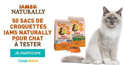 Testez les croquettes pour chat IAMS Naturally !