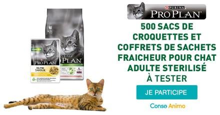 Testez les croquettes et les sachets fraîcheur Pro Plan Sterilised pour votre chat !