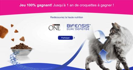 Gagnez 1 an de croquettes et des milliers de bons de réductions pour votre chat avec PURINA ONE® Bifensis !